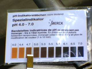 Test bandelette pH eau acide